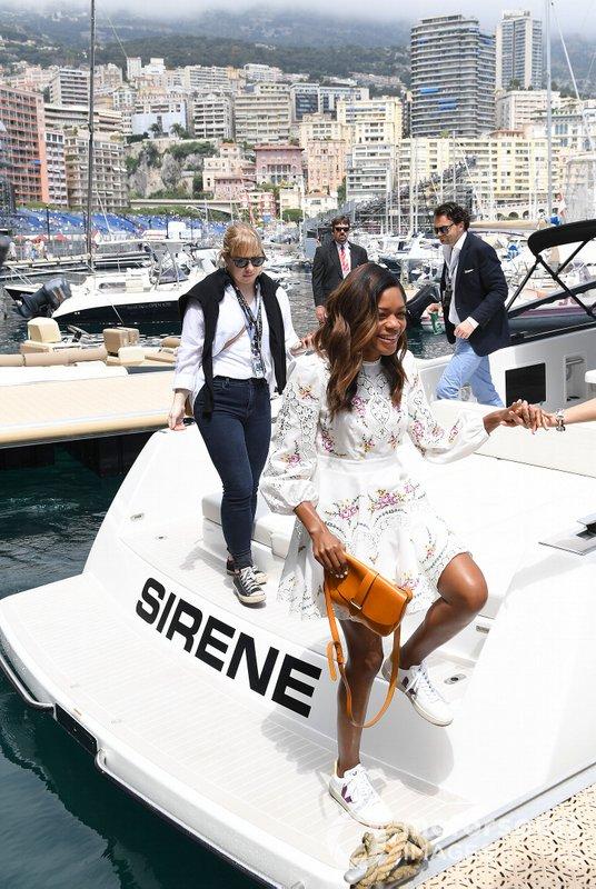 Actress Naomi Harris steps off of a yacht