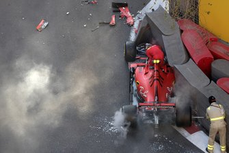 Charles Leclerc, Ferrari SF90 gets out of his crashed car