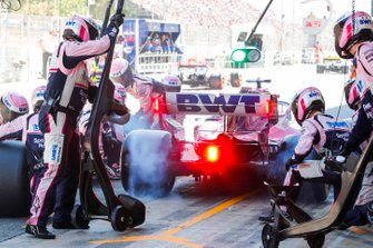 Sergio Perez, Racing Point RP19 pit stop with wheel spin