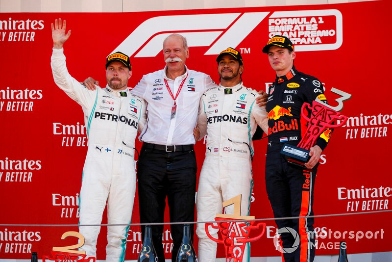 Valtteri Bottas, Mercedes AMG F1, Dr Dieter Zetsche, CEO, Mercedes Benz, Race Winner Lewis Hamilton, Mercedes AMG F1 and Max Verstappen, Red Bull Racing celebrate on the podium