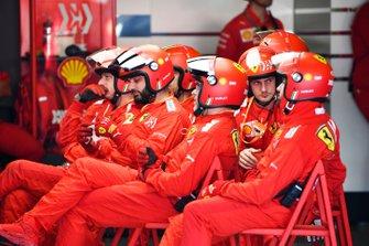 The Ferrari pit crew at rest
