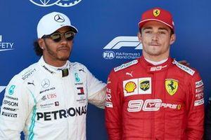 Le second des qualifications Lewis Hamilton, Mercedes AMG F1, et le poleman Charles Leclerc, Ferrari