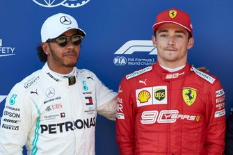 Front row starters Lewis Hamilton, Mercedes AMG F1, and Pole sitter Charles Leclerc, Ferrari