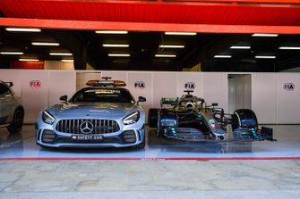 Safety Car and car of Lewis Hamilton, Mercedes AMG F1 W10 in the FIA garage
