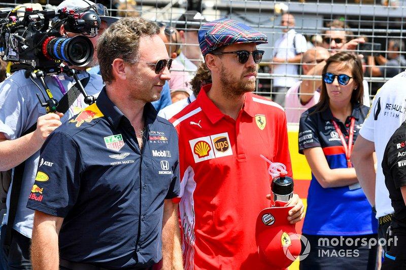 Christian Horner, director, Red Bull Racing, con Sebastian Vettel, Ferrari