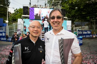 Mark Preston, Team Principal, DS TECHEETAH, Edmund Chu, DS TECHEETAH President pose with the race winning trophies