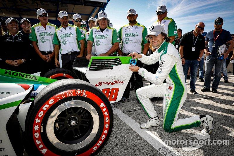 Ganador de la pole Colton Herta, Harding Steinbrenner Racing Honda