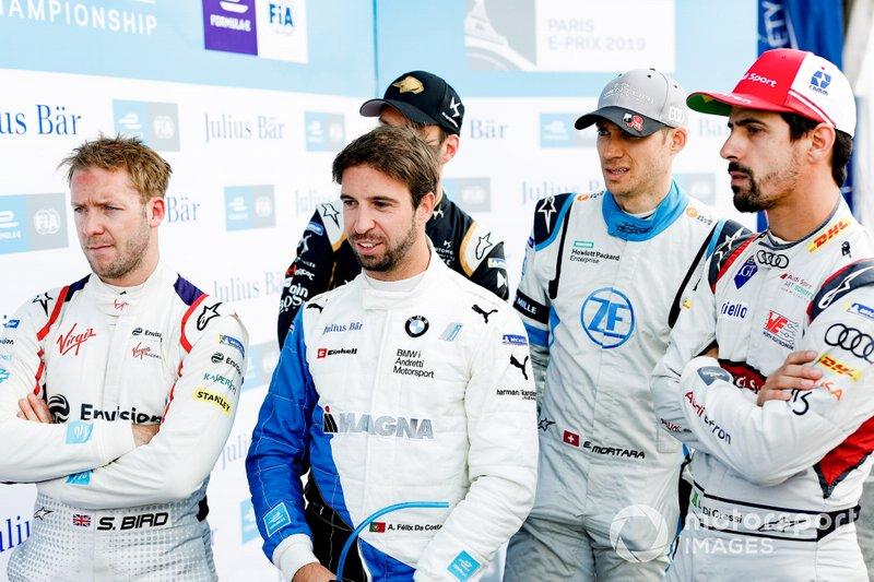 Sam Bird, Envision Virgin Racing, Antonio Felix da Costa, BMW I Andretti Motorsports, Edoardo Mortara Venturi Formula E, Lucas Di Grassi, Audi Sport ABT Schaeffler