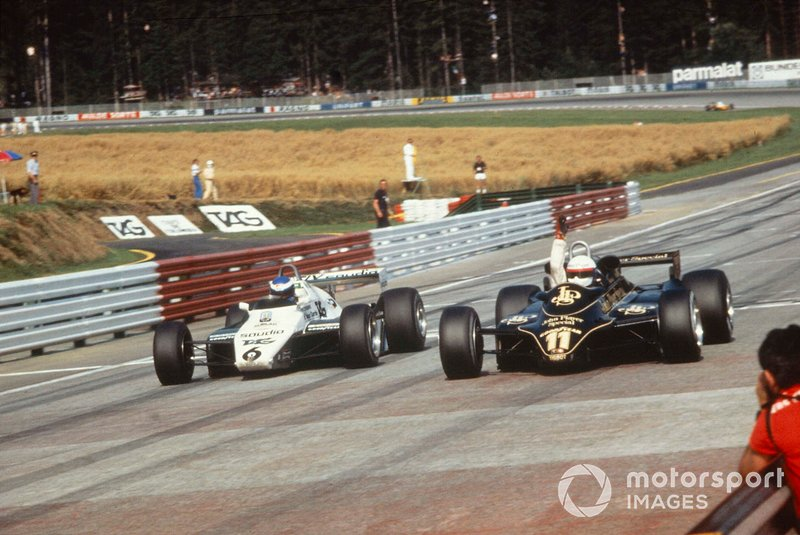 Elio de Angelis, Lotus 91 batte Keke Rosberg, Williams FW08 per la vittoria