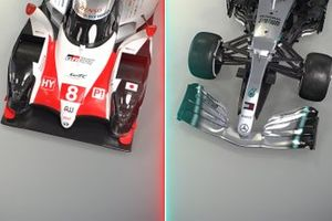 Toyota LMP1 car and Mercedes F1 car comparison