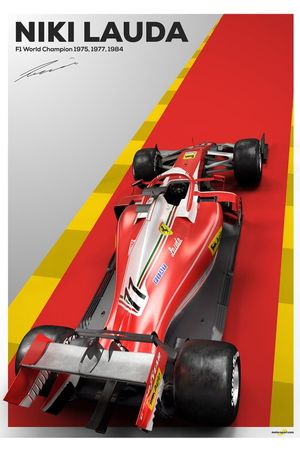 Niki Lauda tribute poster featuring the 2019 Ferrari SF90 with a classic livery
