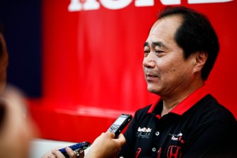 Toyoharu Tanabe, F1 Technical Director, Honda speaks t the media