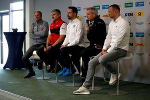 Conférence de presse, Dieter Gass, directeur d'Audi Sport DTM, Dr. Florian Kamelger, Dr. Florian Kamelger, fondateur et propriétaire d'AF Racing AG et Team principal R-Motorsport, Jens Marquardt, directeur BMW Motorsport, Achim Kostron, ITR