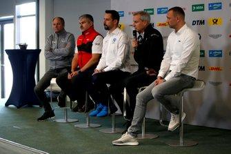 Conferenza stampa, Gerhard Berger, Presidente ITR, Dieter Gass, Capo del DTM Audi Sport, Dr. Florian Kamelger, fondatore e proprietario AF Racing AG e Team principal R-Motorsport, Jens Marquardt, Direttore BMW Motorsport, Achim Kostron, ITR