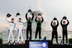 #23 Heart of Racing Team Aston Martin Vantage GT3, GTD: Ross Gunn, Roman De Angelis, Race winners #39 CarBahn with Peregrine Racing Audi R8 LMS GT3, GTD: Richard Heistand, Jeff Westphal, #19 GRT Grasser Racing Team Lamborghini Huracan GT3, GTD: Misha Goikhberg, Marco Mapelli