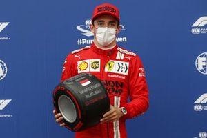 Charles Leclerc, Ferrari, with the Pirelli Pole Position award