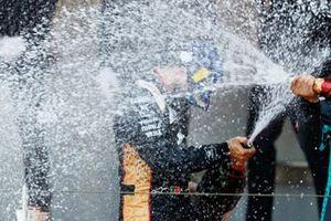 Antonio Felix Da Costa, DS Techeetah, celebrates on the podium