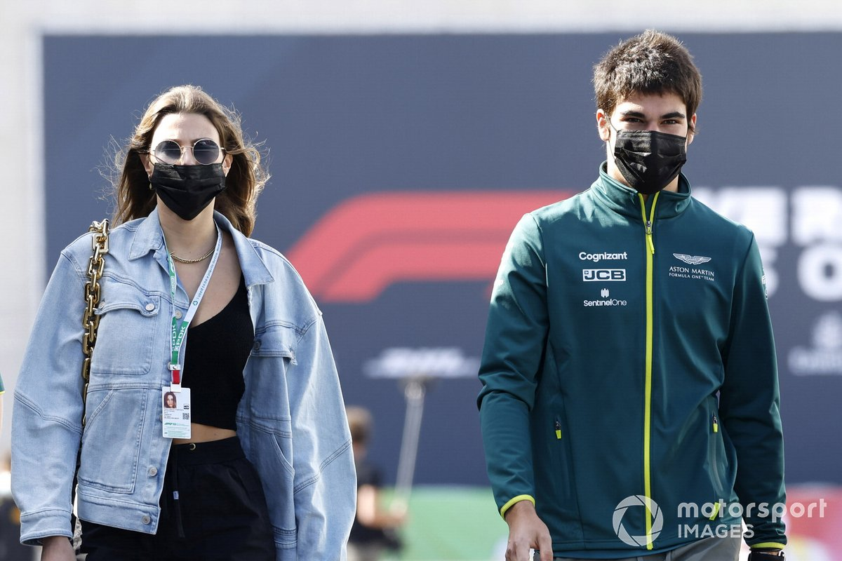 Lance Stroll, Aston Martin con su novia Sara Pagliaroli