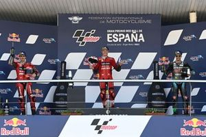 Podium: Race winner Jack Miller, Ducati Team, Francesco Bagnaia, Ducati Team, Franco Morbidelli, Petronas Yamaha SRT
