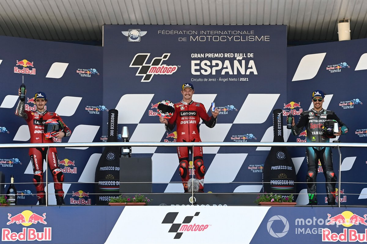 Podio: il vincitore Jack Miller, Ducati Team, Francesco Bagnaia, Ducati Team, Franco Morbidelli, Petronas Yamaha SRT
