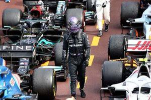 Lewis Hamilton, Mercedes, arrives in Parc Ferme