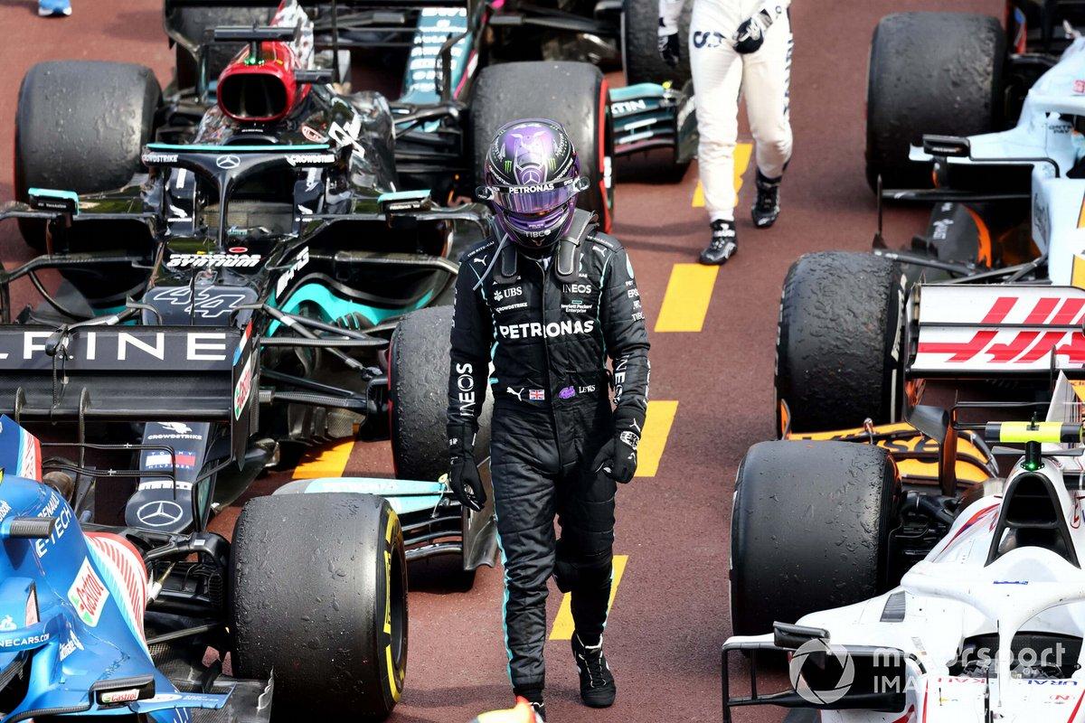 Lewis Hamilton, Mercedes, en Parc Ferme