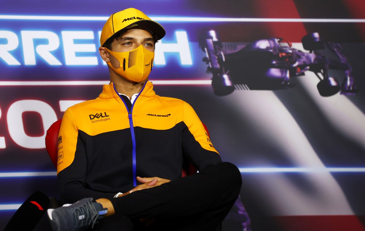 Lando Norris, McLaren durante la conferencia de prensa