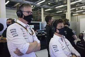 James Allison, Technical Director, Mercedes AMG, and Toto Wolff, Team Principal and CEO, Mercedes AMG
