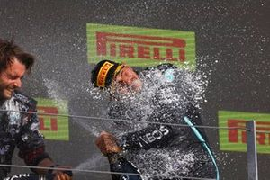 Lewis Hamilton, Mercedes, 1st position, sprays the victory Champagne with his team mate