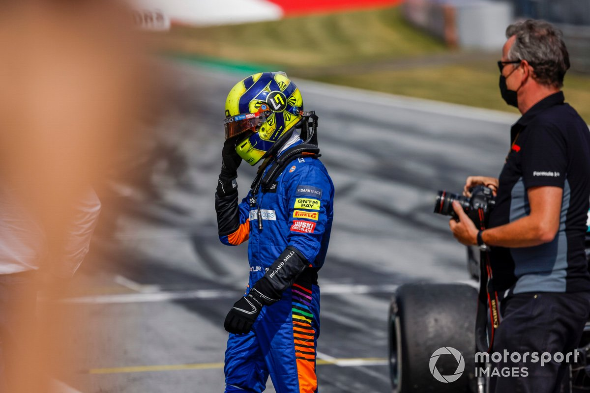 Tercer lugar Lando Norris, McLaren celebra en Parc Ferme