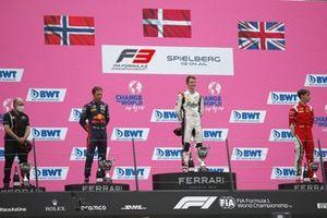 1st Position, Frederik Vesti, ART Grand Prix, 2nd Position, Dennis Hauger, Prema Racing , 3rd Position, Olli Caldwell, Prema Racing