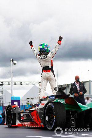Lucas Di Grassi, Audi Sport ABT Schaeffler, first position, celebrates in Parc Ferme