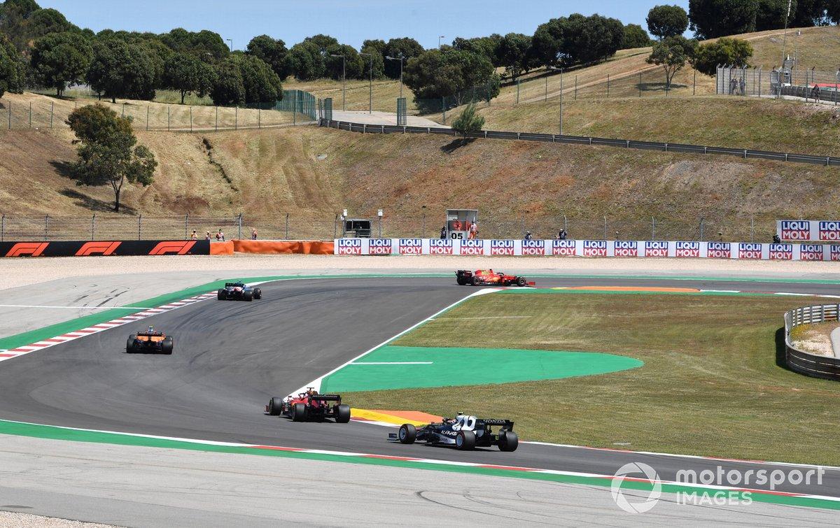 Carlos Sainz Jr., Ferrari SF21, Esteban Ocon, Alpine A521, Lando Norris, McLaren MCL35M, Charles Leclerc, Ferrari SF21, Pierre Gasly, AlphaTauri AT02