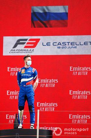 Race Winner Alexander Smolyar, ART Grand Prix on the podium
