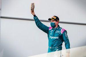 Sebastian Vettel, Aston Martin, 2nd position, arrives on the podium