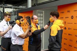 Lando Norris, McLaren speaks to McLaren media