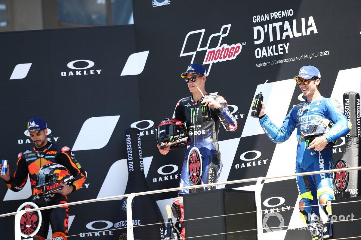 Podio: ganador de la carrera Fabio Quartararo, Yamaha Factory Racing, tercer lugar Miguel Oliveira, Red Bull KTM Factory Racing, segundo lugar Joan Mir, Team Suzuki MotoGP