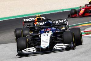 George Russell, Williams FW43B, Sergio Perez, Red Bull Racing RB16B, and Carlos Sainz Jr., Ferrari SF21