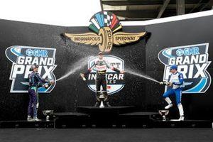 Rinus VeeKay, Ed Carpenter Racing Chevrolet, Romain Grosjean, Dale Coyne Racing with RWR Honda, Alex Palou, Chip Ganassi Racing Honda