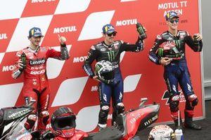 Polesitter Maverick Vinales, Yamaha Factory Racing, second place Fabio Quartararo, Yamaha Factory Racing, third place Francesco Bagnaia, Ducati Team