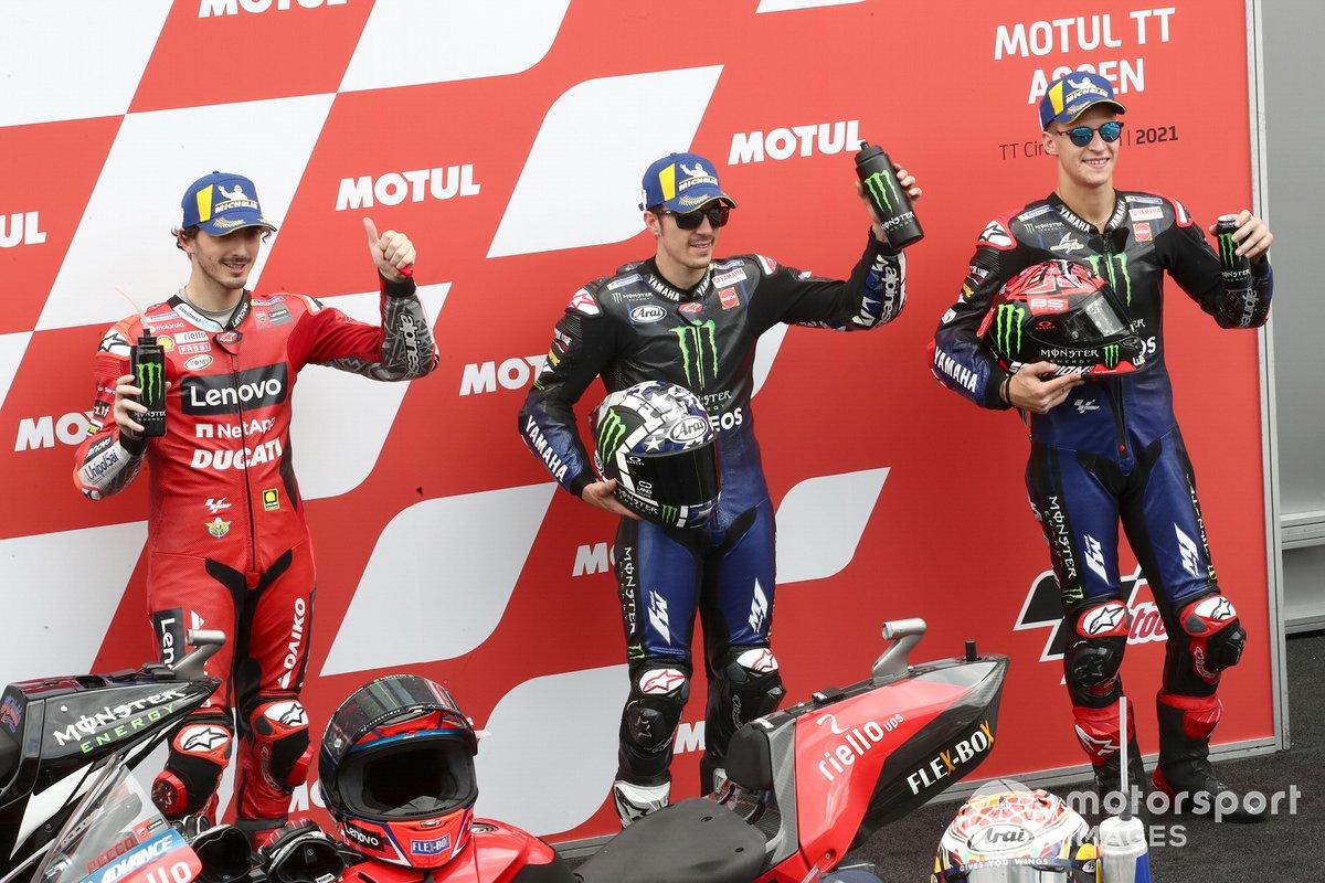 Ganador de la pole Maverick Viñales, Yamaha Factory Racing, segundo Fabio Quartararo, Yamaha Factory Racing, tercero Francesco Bagnaia, Ducati Team