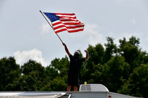 Fan with an American flag, atmosphere,