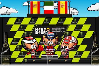 El podio del GP de la República Checa de MotoGP 2018, por MiniBikers