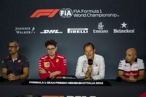 Ben Agathangelou, Haas F1 Team Aerodynamicist, Mattia Binotto, Ferrari Chief Technical Officer, Aldo Costa, Mercedes AMG F1 and Simone Resta, Sauber F1 Team Designer in the Press Conference