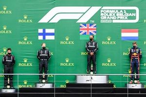 Valtteri Bottas, Mercedes-AMG F1, 2nd position, Lewis Hamilton, Mercedes-AMG F1, 1st position, and Max Verstappen, Red Bull Racing, 3rd position, on the podium