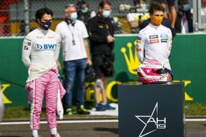 Sergio Perez, Racing Point and Charles Leclerc, Ferrari with the helmet of Anthoine Hubert on the grid