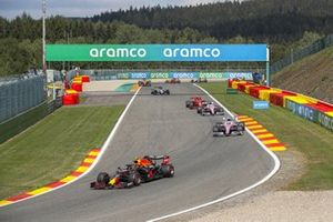 Alex Albon, Red Bull Racing RB16, Lance Stroll, Racing Point RP20, Sergio Perez, Racing Point RP20, and Charles Leclerc, Ferrari SF1000