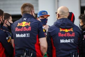Max Verstappen, Red Bull Racing with members of his team