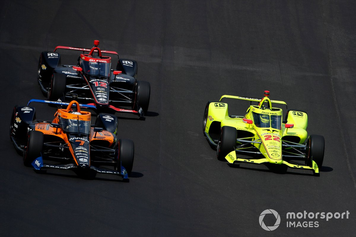 Oliver Askew, Arrow McLaren SP Chevrolet,Simon Pagenaud, Team Penske Chevrolet