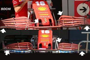 Ferrari SF1000 front wing comparison
